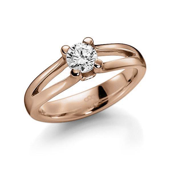 Verlobungsring Diamantring 0,4 ct. G VS & tw, si Rotgold 585