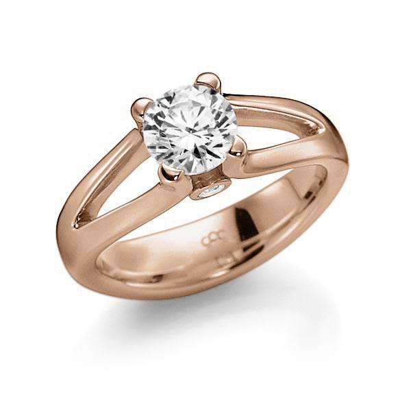 Verlobungsring Diamantring 1 ct. G VS & tw, si Rotgold 585