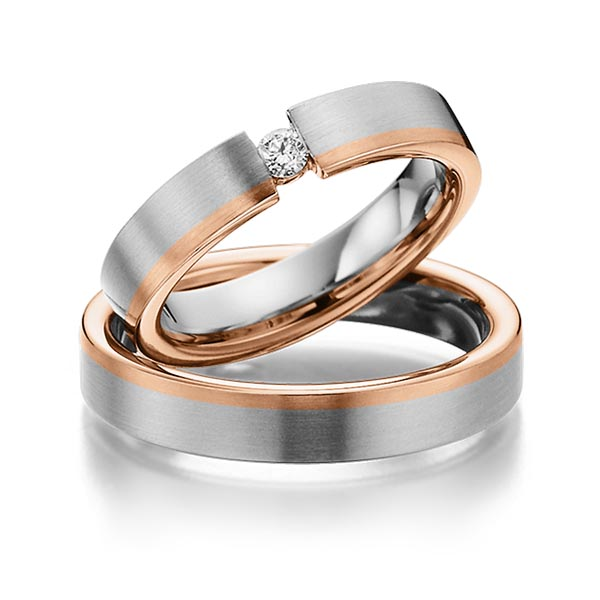 Trauringe Edelstahl Rotgold 585 mit 0,1 ct. tw, si Eternal Touch ...