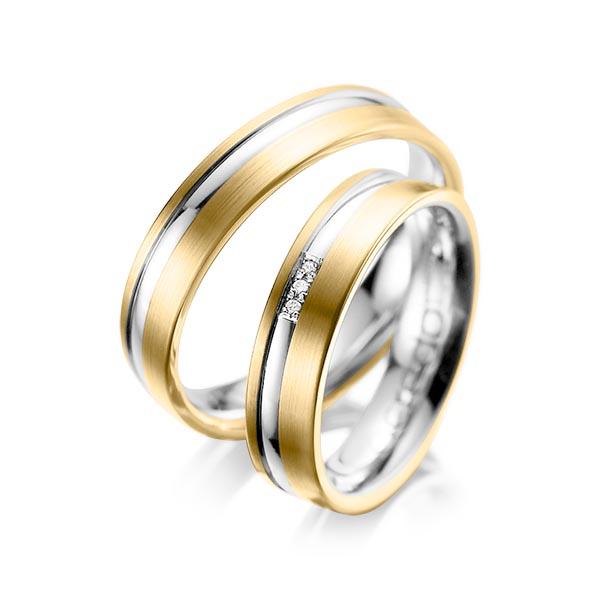 Trauringe Gelbgold 585 Graugold 585 mit 0,015 ct. tw, si