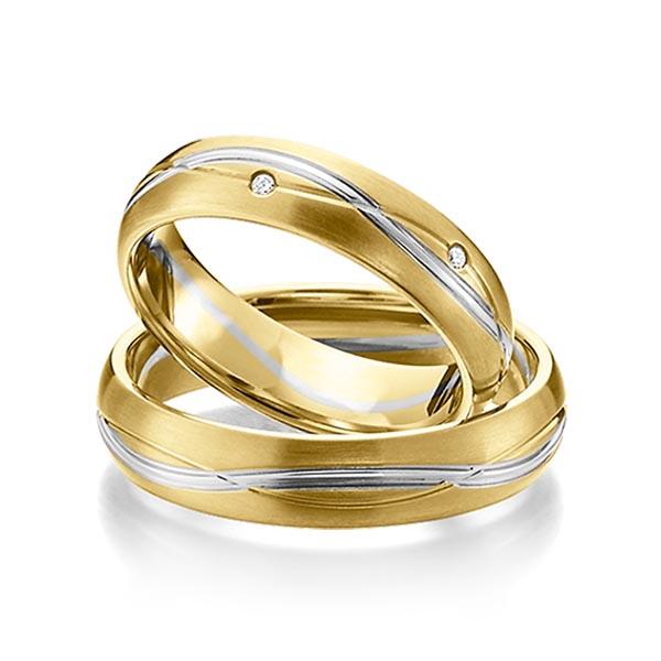Trauringe Gelbgold 585 Graugold 585 mit 0,06 ct. tw, si