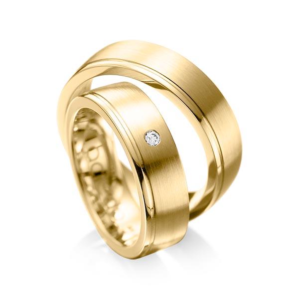 Trauringe Gelbgold 585 mit 0,03 ct. tw, si