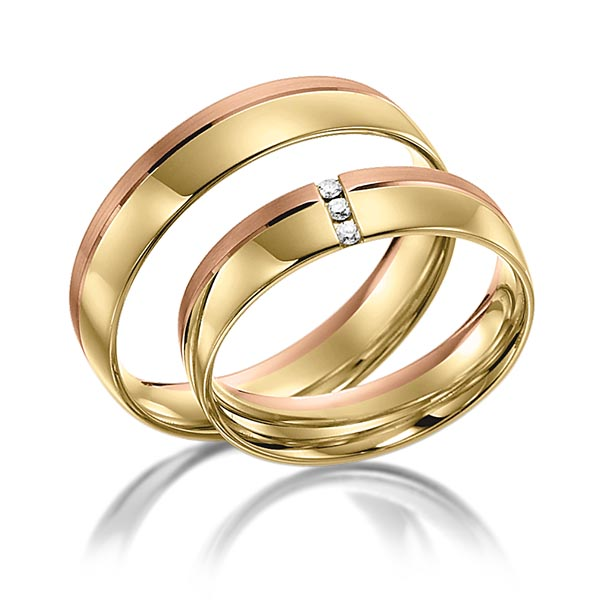 Trauringe Gelbgold 585 Rotgold 585 mit 0,03 ct. tw, si