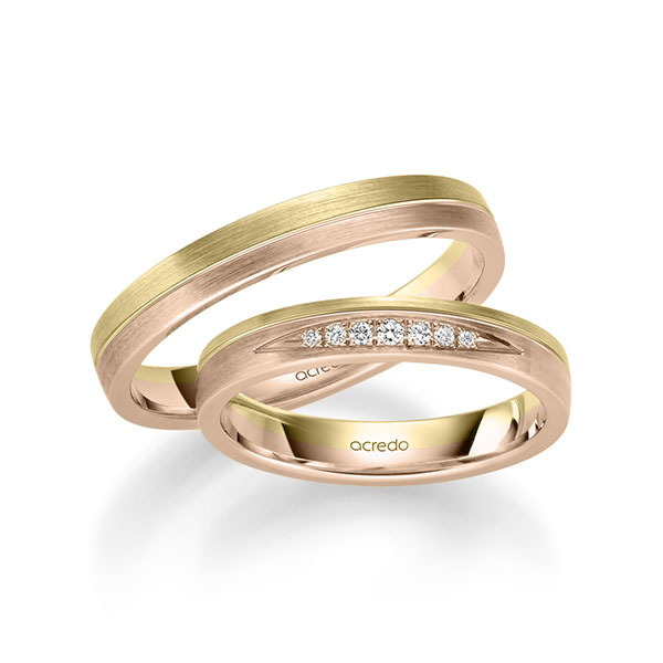 Trauringe Gelbgold 585 Rotgold 585 mit 0,061 ct. tw, si