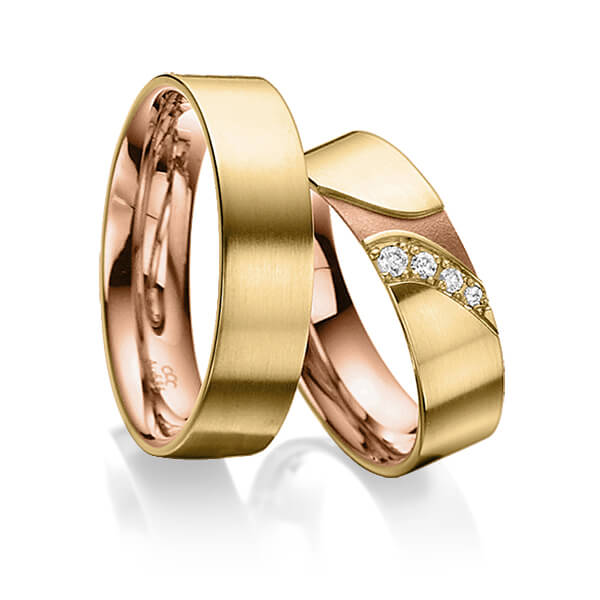 Trauringe Gelbgold 585, Rotgold 585 mit 0,075 ct. tw, si