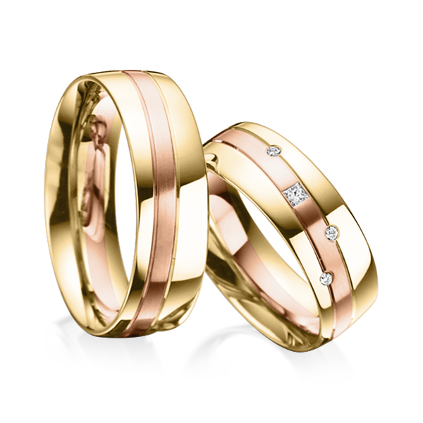Trauringe Gelbgold 585 Rotgold 585 mit 0,07 ct. tw, si