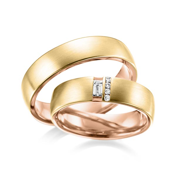 Trauringe Gelbgold 585, Rotgold 585 mit 0,132 ct. tw, vs