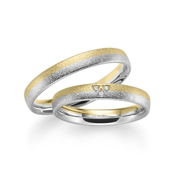 Trauringe Gelbgold 585 Weißgold 585 mit 0,024 ct. tw, si