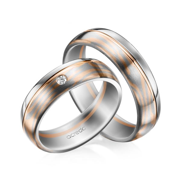 Trauringe Palladium-Silber 800 Graugold 585, Rotgold 585 0,03ct. tw, si