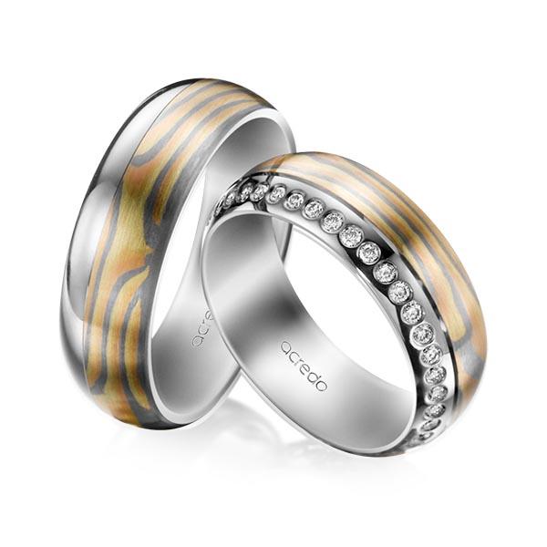 Trauringe Palladium-Silber 800 Grüngold 750, Rotgold 585, Graugold 585 0,39ct. tw, si