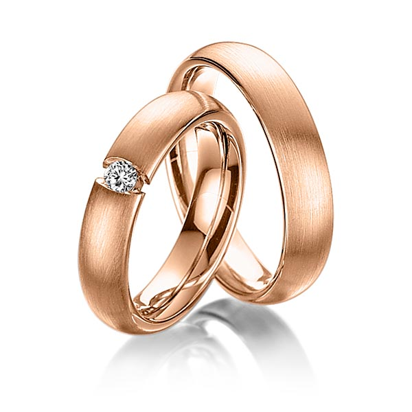 Trauringe Rotgold 585 mit 0,12 ct. tw, si