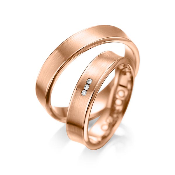Trauringe Rotgold 585 mit 0,03 ct. tw, si