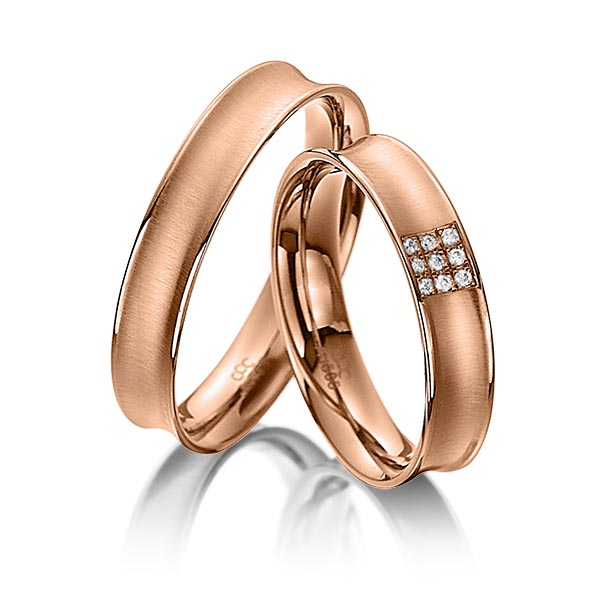 Trauringe Rotgold 585 mit 0,045 ct. tw, vs