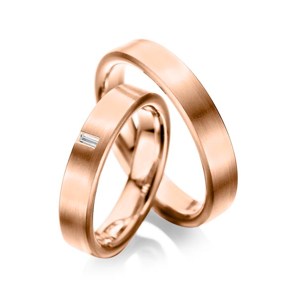 Trauringe Rotgold 585 mit 0,05 ct. tw, vs