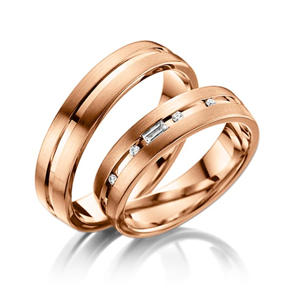 Trauringe Rotgold 585 mit 0,09 ct. tw, vs