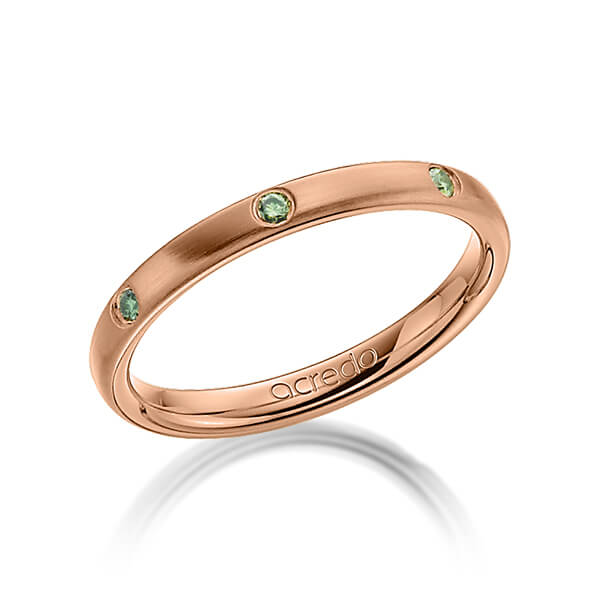 Trauringe Rotgold 585 mit 0,14 ct. Apple Green