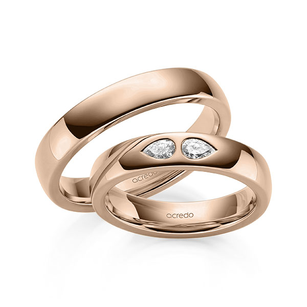 Trauringe Rotgold 585 mit 0,2 ct. tw, vs