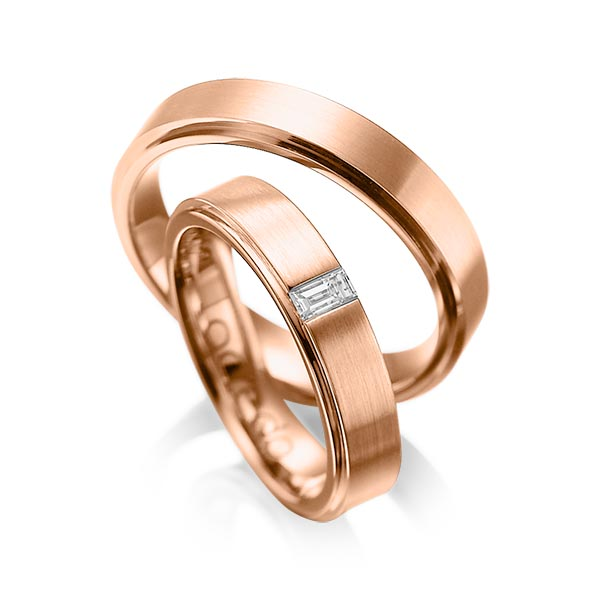 Trauringe Rotgold 585, Rotgold 585 mit 0,12 ct. tw, vs