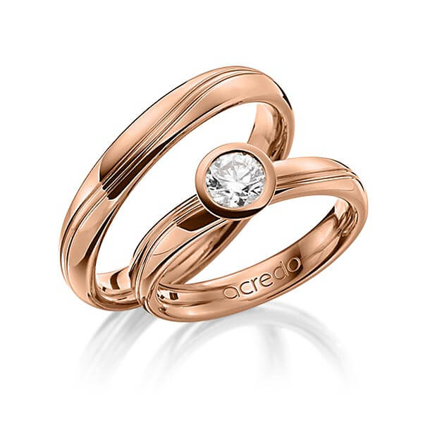 Trauringe Rotgold 750 mit 0,5 ct. E IF