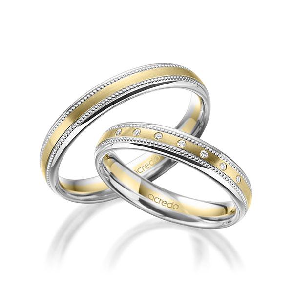 Trauringe Weißgold 585 Gelbgold 585 mit 0,035 ct. tw, si