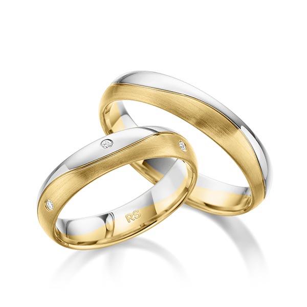 Trauringe Weißgold 585 Gelbgold 585 mit 0,06 ct. tw, si
