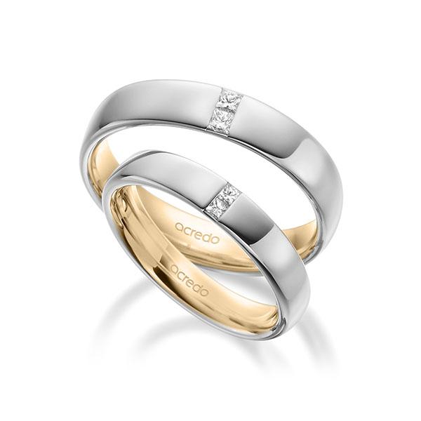 Trauringe Weißgold 585, Roségold 585 mit 0,06 ct. tw, si