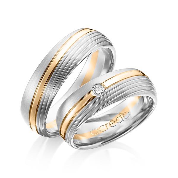 Trauringe Weißgold 585 Roségold 585 mit 0,07 ct. tw, si