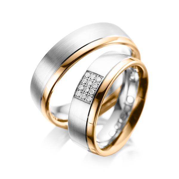 Trauringe Weißgold 585 Roségold 585 mit 0,096 ct. tw, si