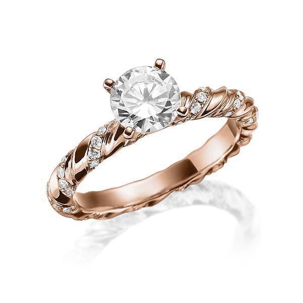 Verlobungsring Diamantring 0,3 ct. tw, vs Rotgold 750