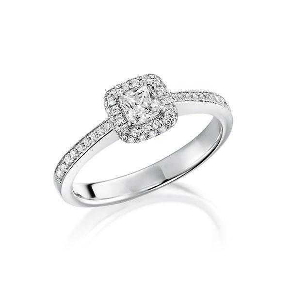 Verlobungsring Diamantring 0,3 ct. tw, vs Weißgold 750