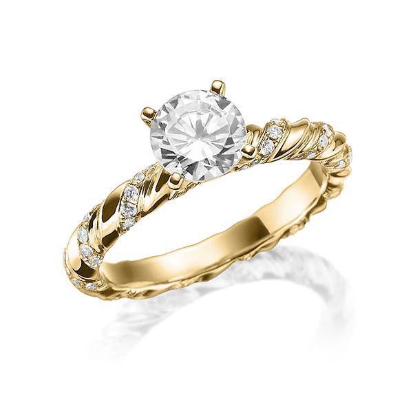 Verlobungsring Diamantring 0,7 ct. tw, vs Gelbgold 750