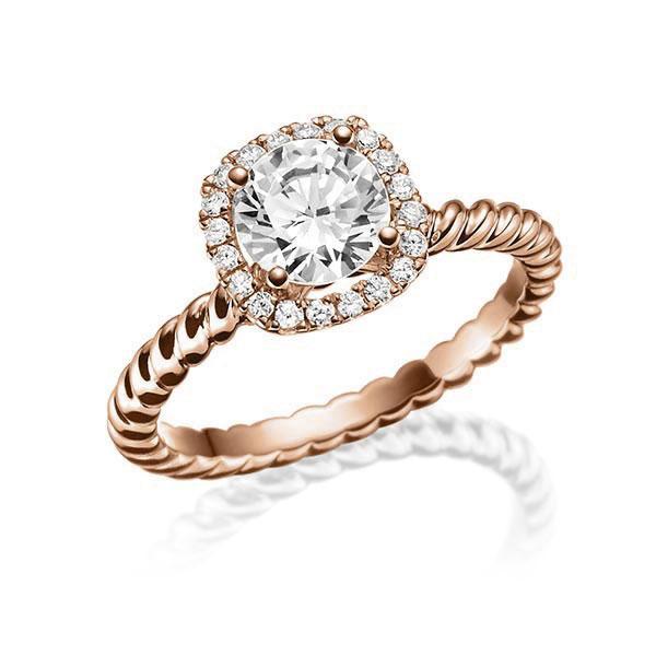 Verlobungsring Diamantring 0,7 ct. tw, vs Rotgold 750