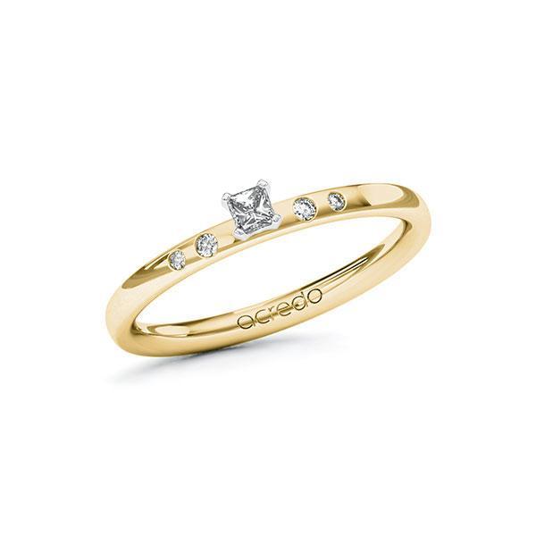 Verlobungsring Diamantring 0,13 ct. tw, si Gelbgold 585 Weißgold 585