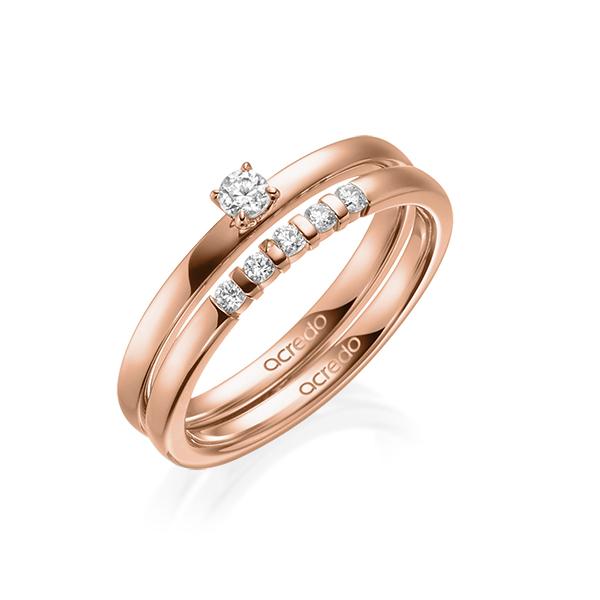 Verlobungsring Diamantring 0,15 ct. tw, si Rotgold 750