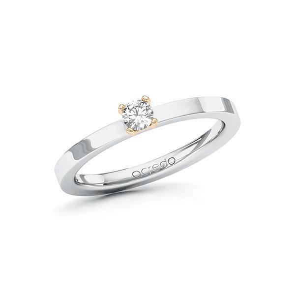 Verlobungsring Diamantring 0,15ct. tw, si Weißgold 585 Roségold 585
