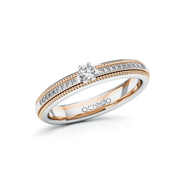 Verlobungsring Diamantring 0,19 ct. tw, si Weißgold 585 Rotgold 585