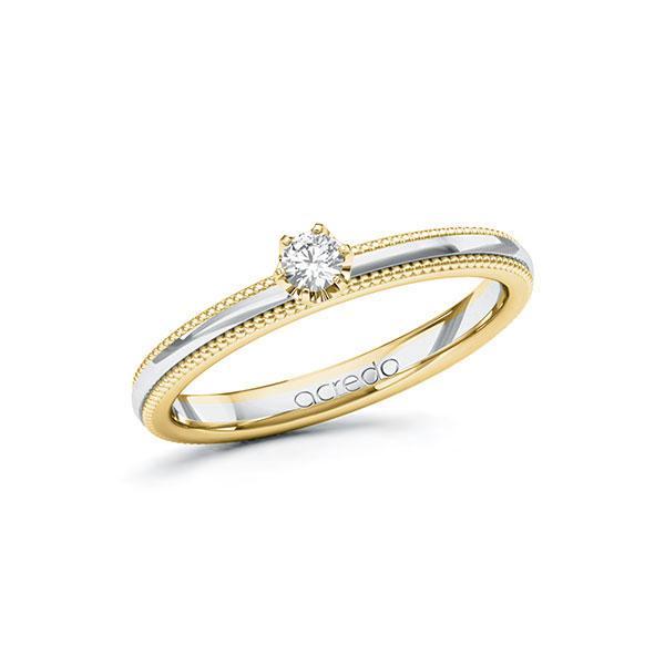 Verlobungsring Diamantring 0,1 ct. tw, si Gelbgold 585 Weißgold 585