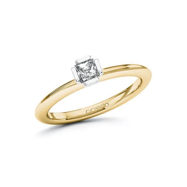 Verlobungsring Diamantring 0,25 ct. tw, si Gelbgold 750 Weißgold 750