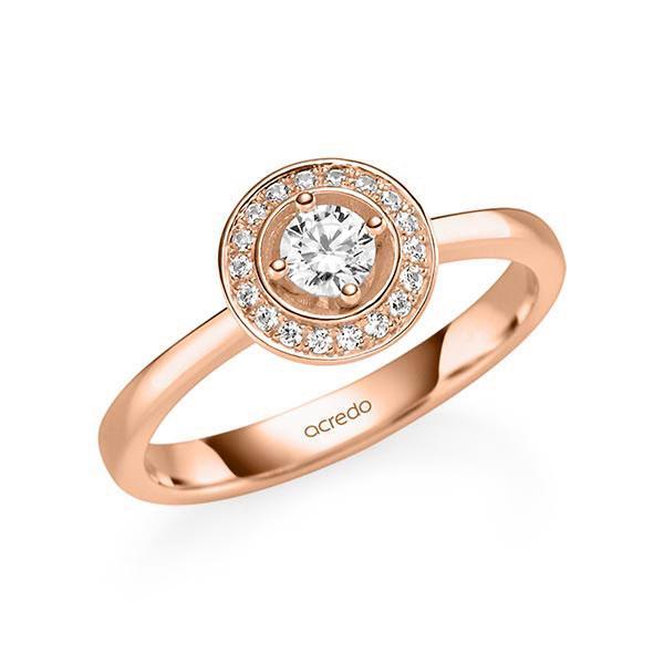 Verlobungsring Diamantring 0,29 ct. tw, si Rotgold 585