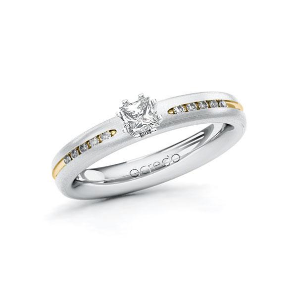 Verlobungsring Diamantring 0,33 ct. tw, si Weißgold 750 Gelbgold 750