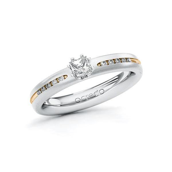 Verlobungsring Diamantring 0,33ct. tw, si Weißgold 750 Roségold 750