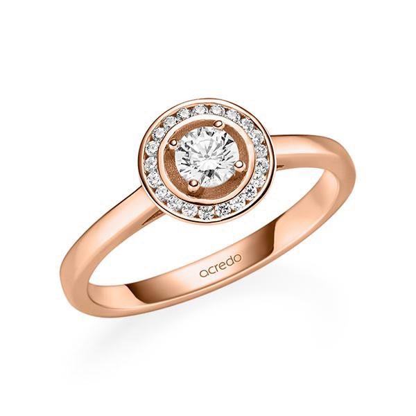 Verlobungsring Diamantring 0,355 ct. tw, si Rotgold 585