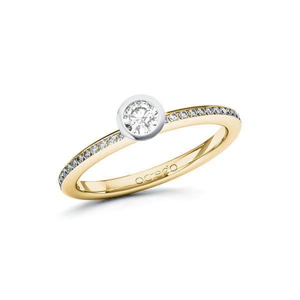 Verlobungsring Diamantring 0,35 ct. tw, si Gelbgold 585 Weißgold 585