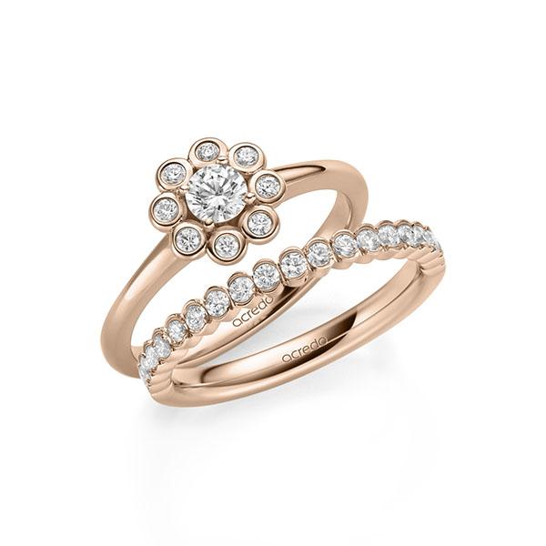 Verlobungsring Diamantring 0,37 ct. tw, si Rotgold 585