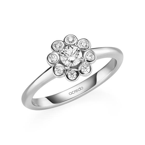 Verlobungsring Diamantring 0,37 ct. tw, si Weißgold 585
