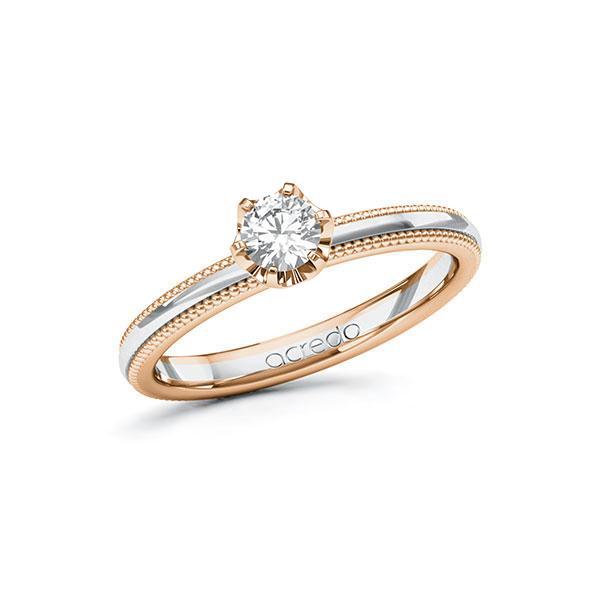Verlobungsring Diamantring 0,3 ct. G SI Rotgold 585 Weißgold 585