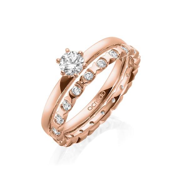 Verlobungsring Diamantring 0,3 ct. G VS Rotgold 750