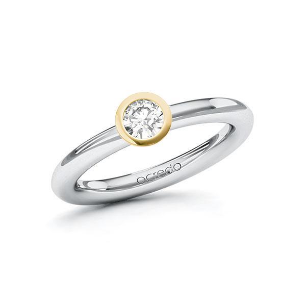 Verlobungsring Diamantring 0,3 ct. G VS Weißgold 585 Gelbgold 585