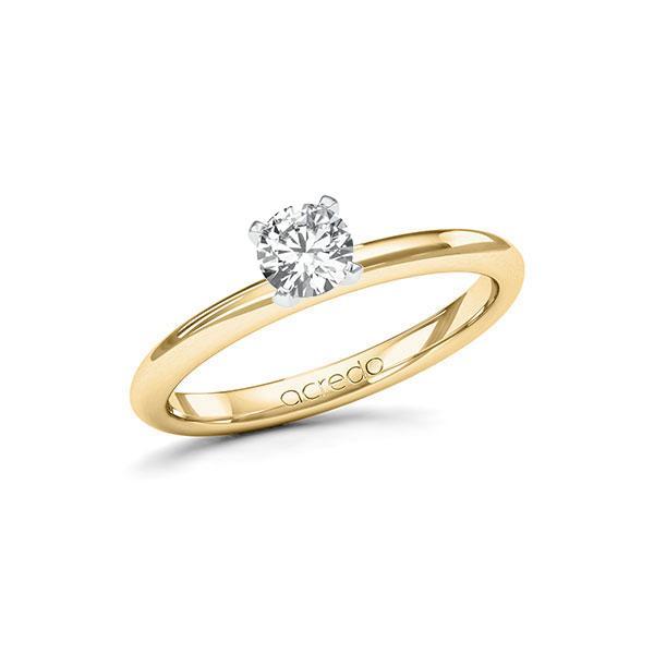 Verlobungsring Diamantring 0,4 ct. G SI Gelbgold 585 Weißgold 585