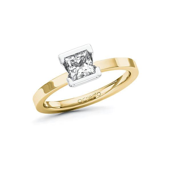 Verlobungsring Diamantring 0,7 ct. G VS Gelbgold 585 Weißgold 585